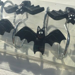 Halloween Bat Shower Curtain Hooks Bathroom Decor